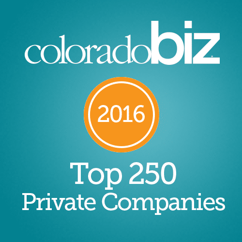 ColoradoBiz top 250 private companies award 2016