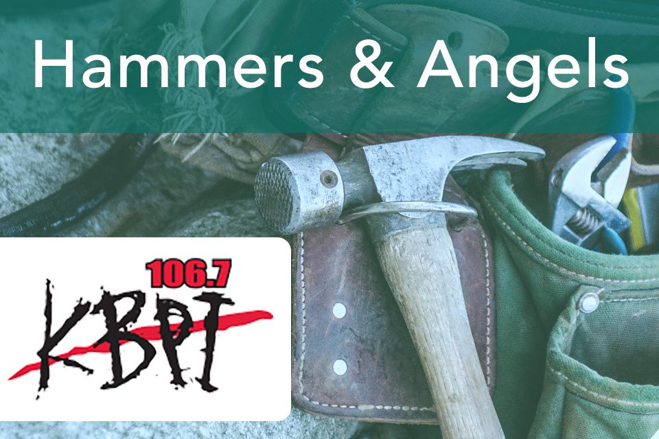 KBPI Hammers and Angels charity drive logo