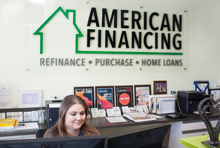 American Financing interior sign and greeting desk