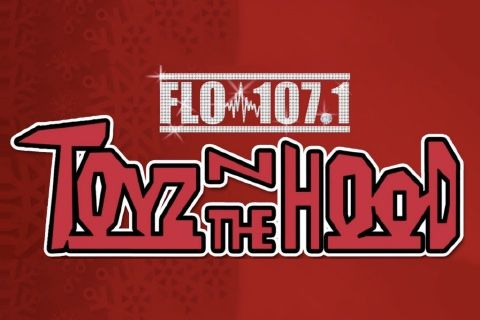 FLO 107.1 Toys in the Hood donation event logo