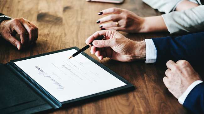 Adults signing divorce application