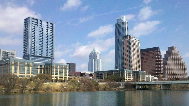 Austin city skyline near water