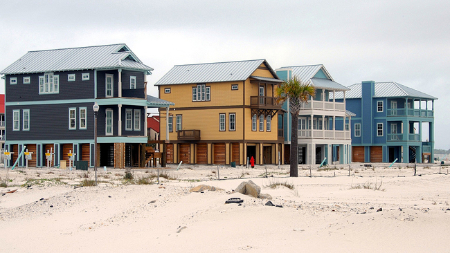 Stilted vacation houses on east coast beach