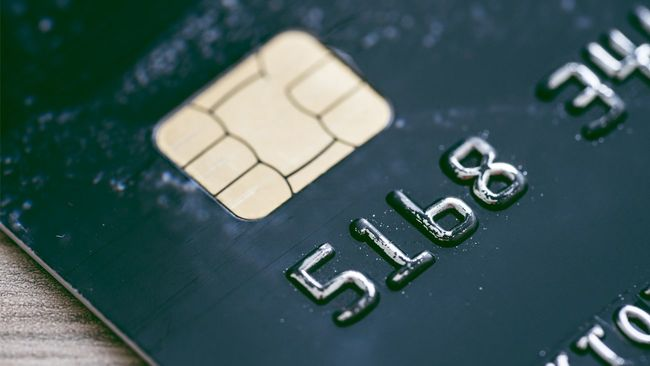 Close up of credit card with security chip