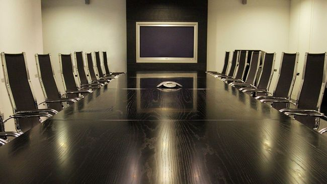 Corporate boardroom table and chairs