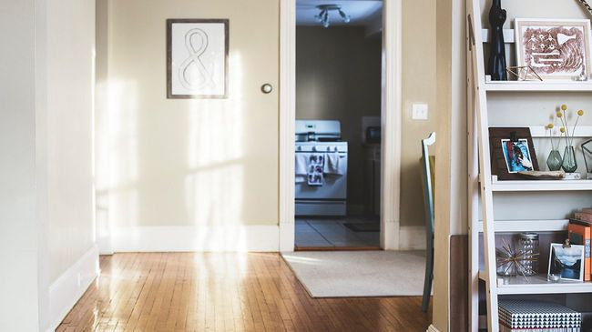Starter home interior with wood floors