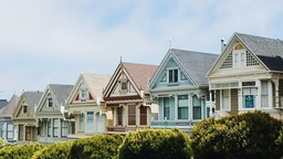 Colorful homes in a neighborhood