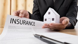 An agent showing a homeowners insurance policy